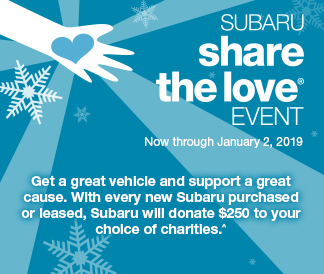 Subaru share the love® event - Now through January 2, 2019